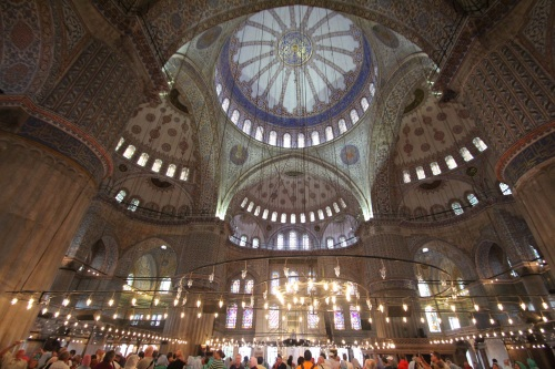 The interior of the Blue Mosque (Sultanahmet Mosque), complete with Australian cruise ship tourists' heads at the bottom of your picture