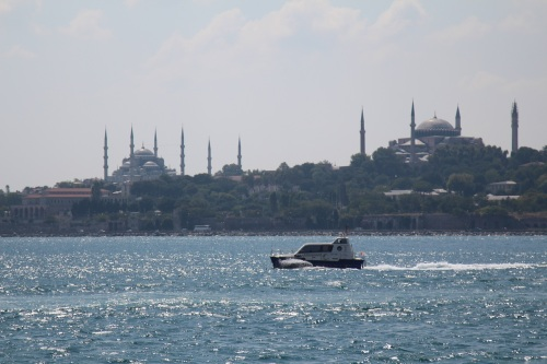 The old city as seen from the Kadikoy Ferry on the Bosphorus. L-R The Blue Mosque and Aya Sofya