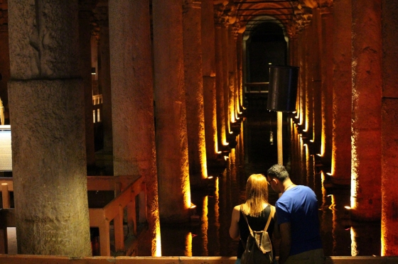 A couple at the 6th century Basilica Sistern in the old city