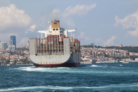 A container ship on the Bosphorus with the new city in the background