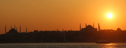 Sunset over the old city from the Kadiköy ferry