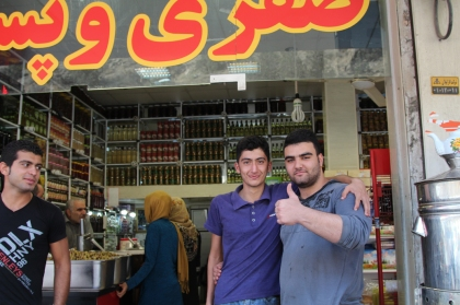 The lads at the olive shop in Rudbar, between Lahijan and Tehran.
