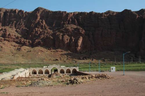 A caravanserai, sits by the Aras River near Jolfa in Iran's far north-west. The Aras forms the narrow border between Iran and Azerbaijan's Nakhchivan province here, and between Iran and Armenia to the east.