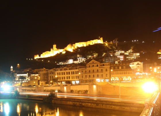 Georgia's capital, Tbilisi, by night