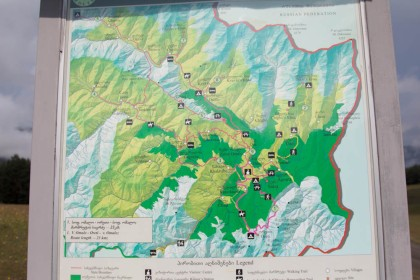 The map of Tusheti outside the visitors centre in Omalo