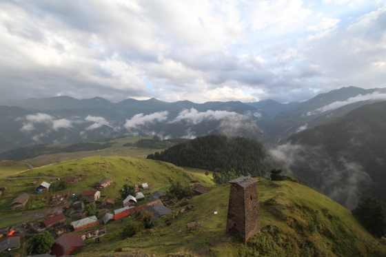 The view from the towers of Keselo, which watch over the village of Omalo in Tusheti