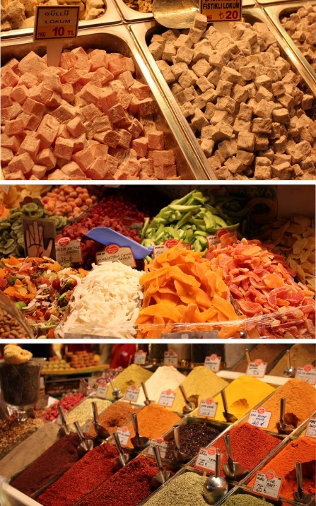 Turkish delight, fruits and spices at the Spice Market in the old city