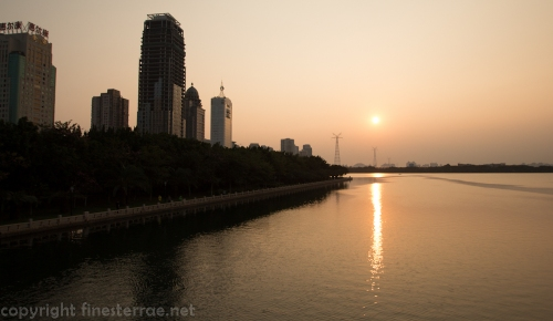 Sunset view of the south shore of Xiamen's Yundang Inner Lake.