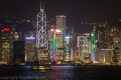 The Hong Kong skyline from the Avenue of the Stars on Kowloon peninsula