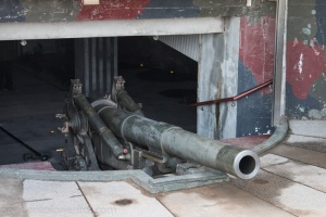 The 32km-range Howitzer cannon at the Mount Lion fortress on Jinmen.