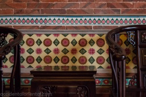 Peranakan wall tiling and teak furniture in Shuitou, Jinmen.