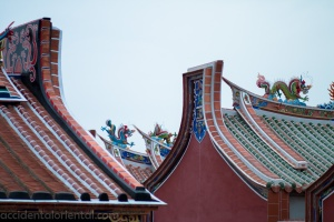 Examples of the ornate roofs of the traditional native Fujianese houses, well-preserved clusters of which exist all over the island of Jinmen.