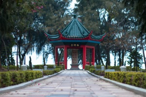 A pagoda in Zhihui Park, a seaside garden near the western port of Shuitou on Jinmen.