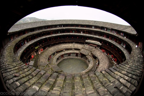 The inside of the Huanjilou building, near the town of Yongding. The Outer ring of the building is for living, cooking, while the inner sections usually house areas for worship and bathing.