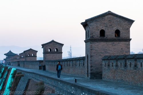 The Pingyao city wall at dusk