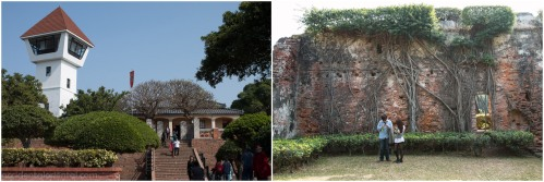 The re-built watchtower at Fort Zeelandia, and the oldest remaining wall in the fort